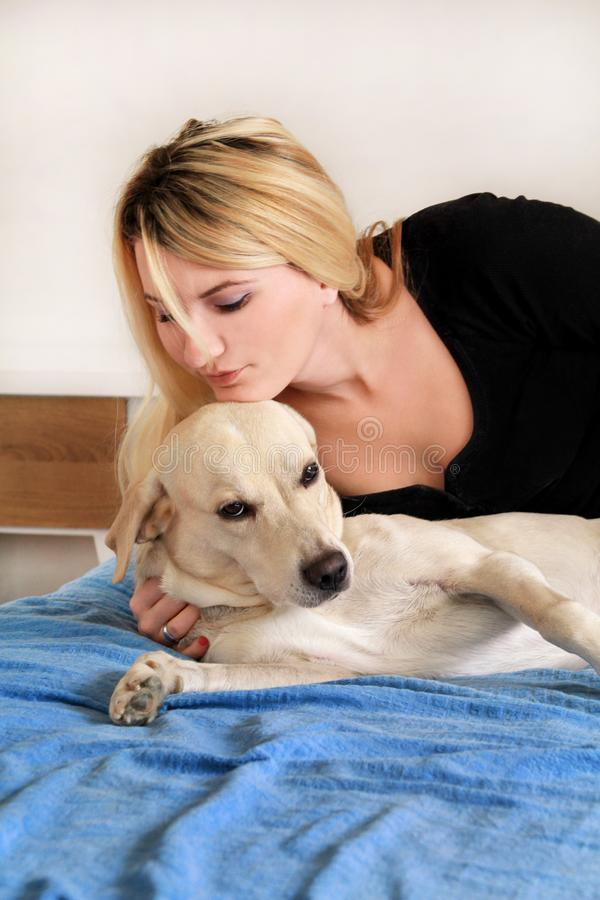 Woman with her dog in bed at home, relaxing in bedroom. Beautiful girl is playing, together and petting with dog in bed. Yellow labrador retriever climbed into royalty free stock image
