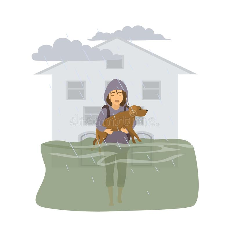 Woman with her dog walking in floodwaters, escaping from flood, leaving drowned home vector illustration