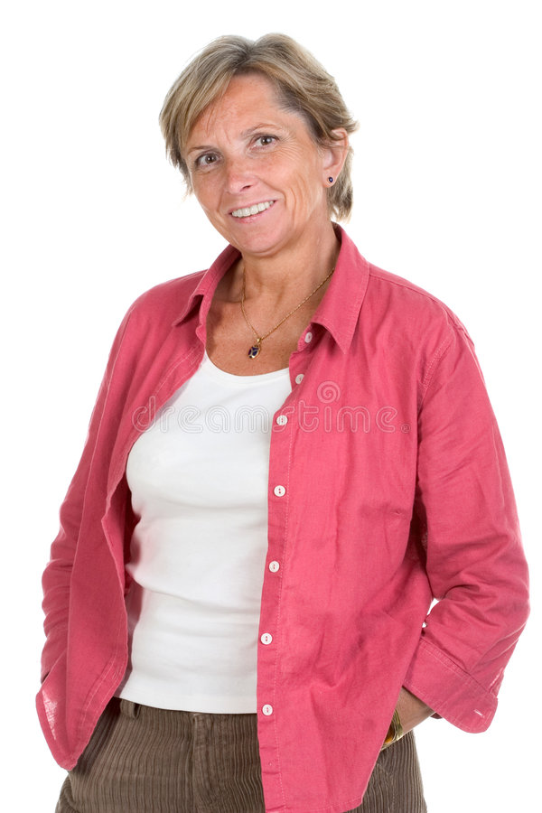 Download Woman In Her Fifties Smiles Royalty Free Stock Photos - Image: 1666468
