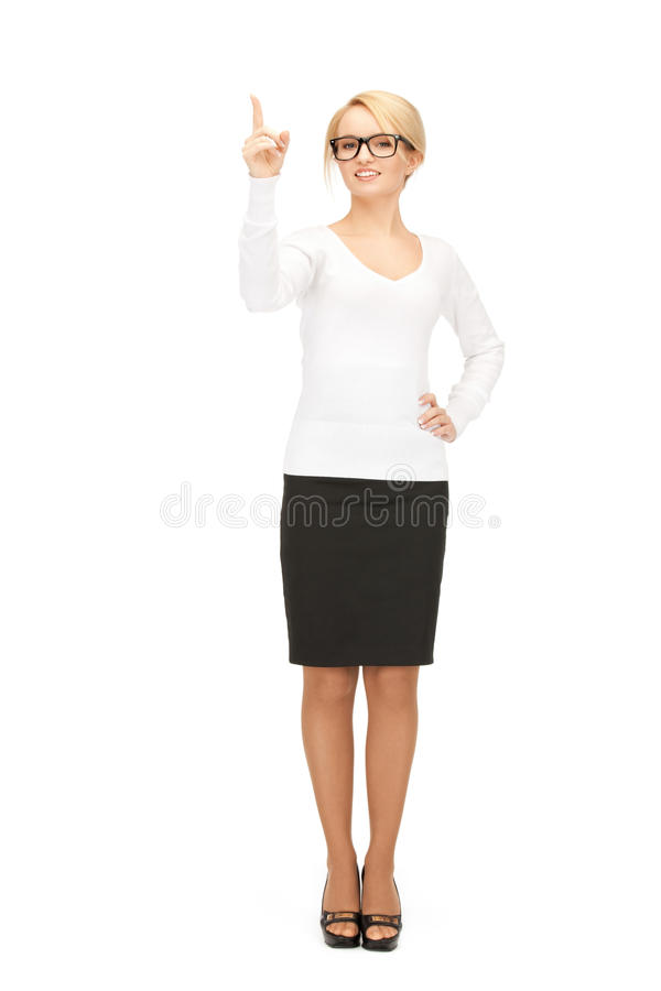 Woman With Her Finger Up Stock Photos