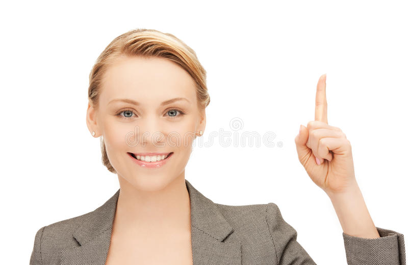 Woman with her finger up stock photo