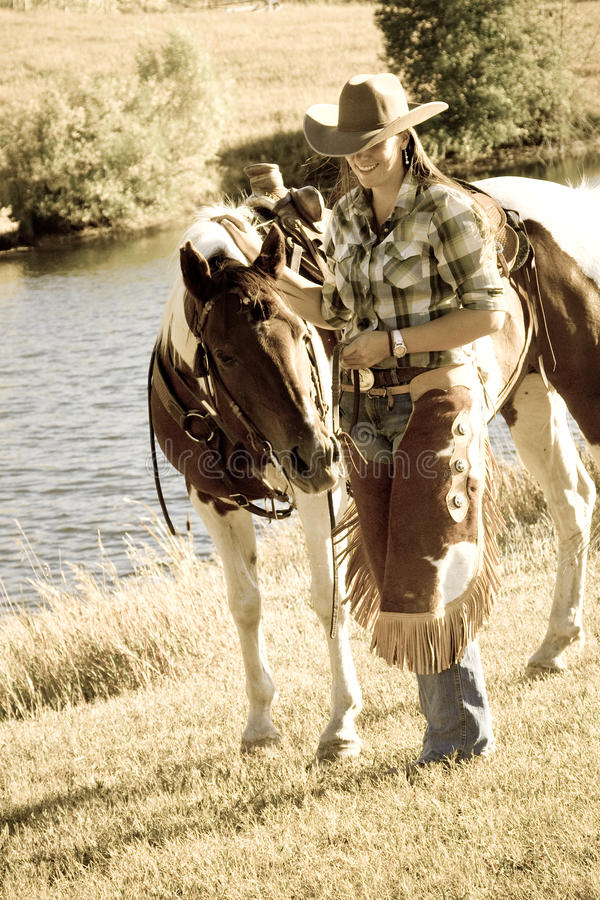 Woman With Her Horse stock photos