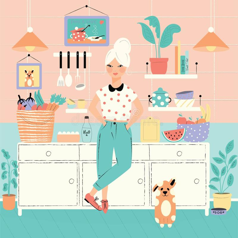 A woman in her kitchen with food and dog. Home atmosphere, healthy food, world food day. Vector illustration. A woman in her kitchen with food and dog. Home royalty free illustration
