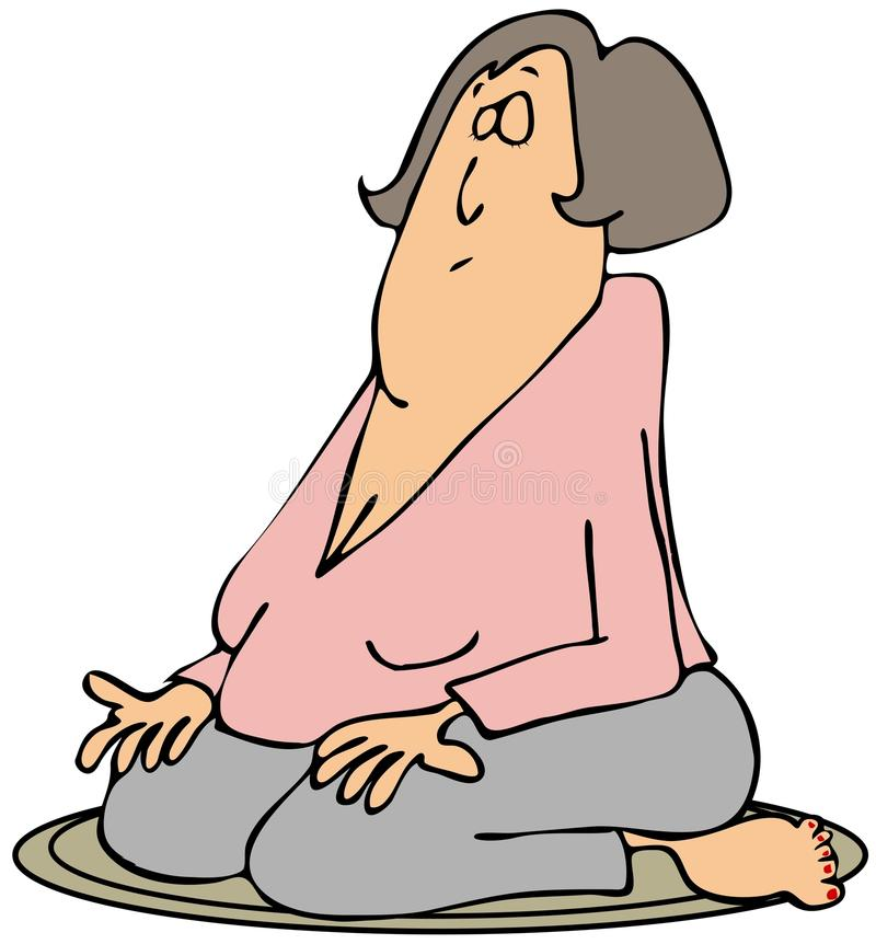 Download Woman On Her Knees Meditating Stock Illustration - Image: 37708630