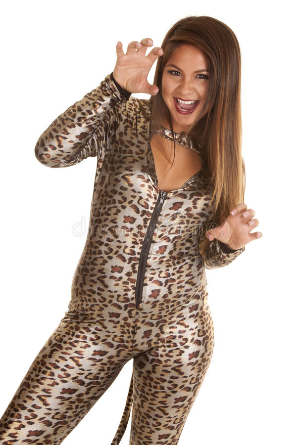 Woman in her leopard costume royalty free stock photos