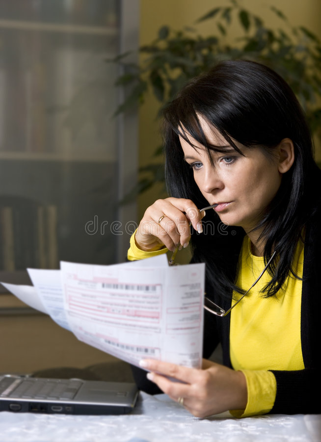 Download Woman And Her Monthly Bills Stock Photo - Image: 7676472