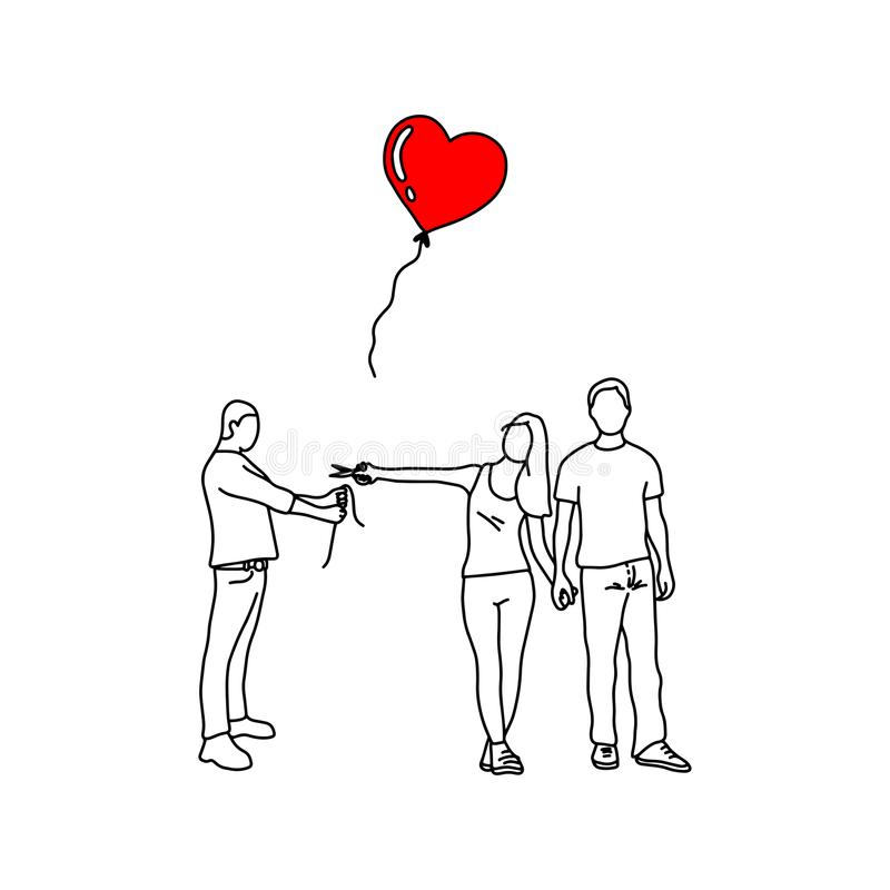 woman with her new lover cutting red heart balloon of a man vector illustration outline sketch hand drawn with black lines royalty free illustration