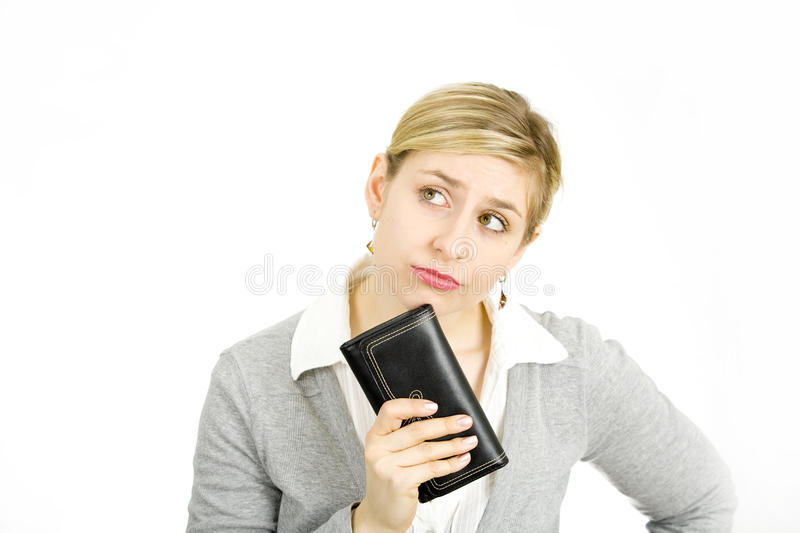 Woman with her purse stock photos