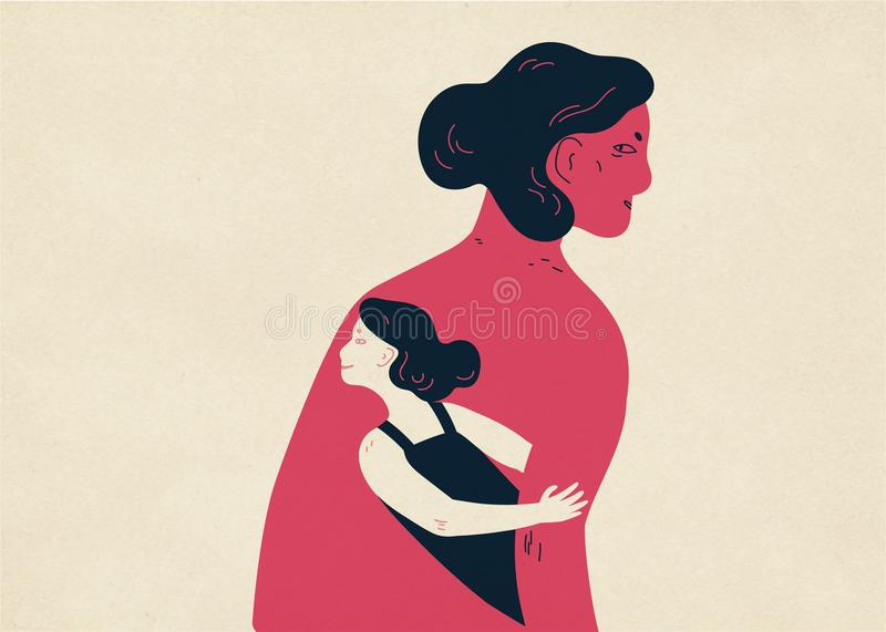 Woman and her small copy hiding under her arm and looking out. Concept of inner child, childlike aspect of human. Personality, subpersonality. Colorful vector stock illustration