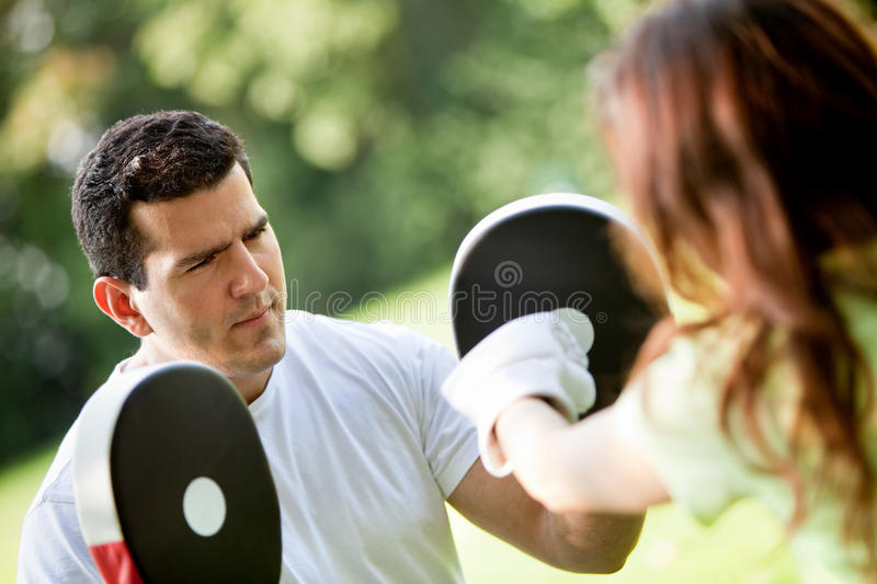 Download Woman And Her Sports Trainer Stock Image - Image: 16706387