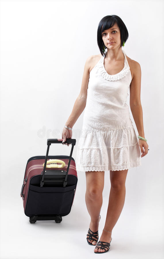 Download Woman with her suitcase stock image. Image of hobbies - 21508687