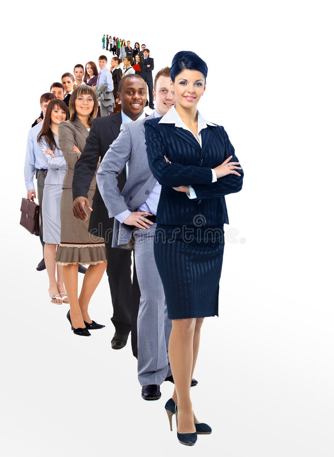Woman And Her Team Isolated Over A White Background Royalty Free Stock Photos