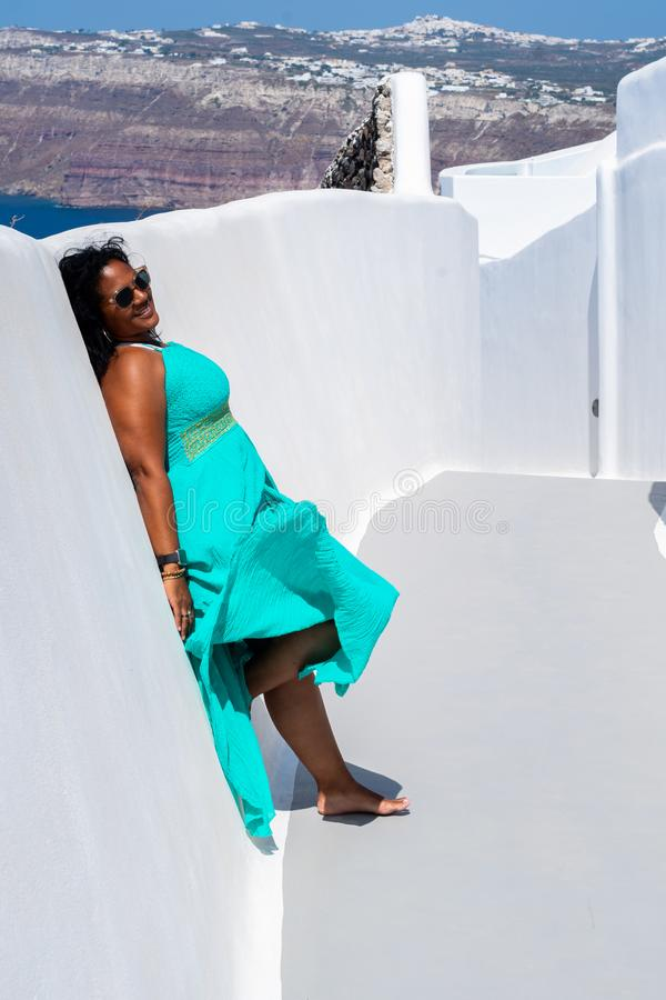 Woman On Vacation In Santorini stock images