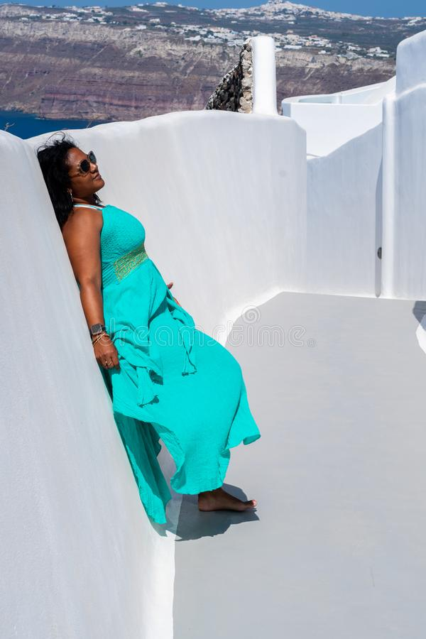 Woman On Vacation In Santorini royalty free stock images