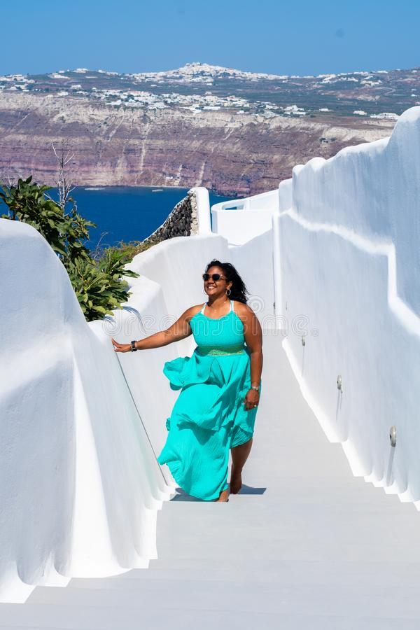 Woman On Vacation In Santorini royalty free stock photo