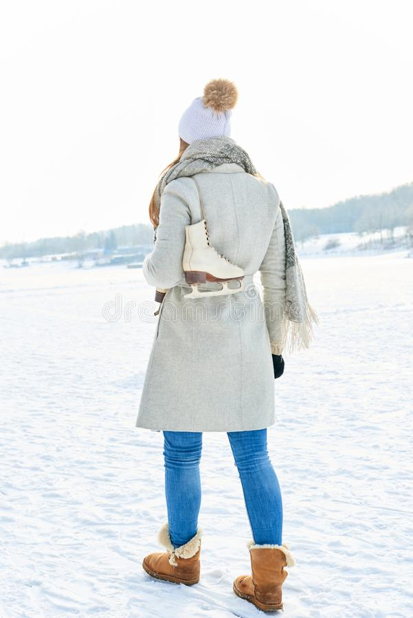 Woman in her winter vacation stock photo