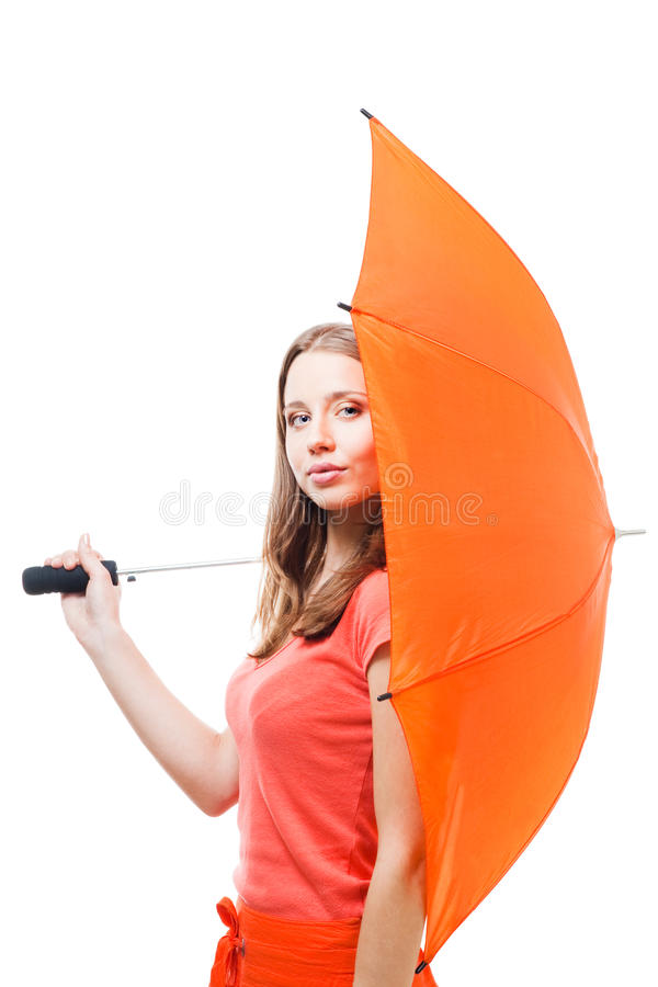 Download Woman hide behind umbrella stock image. Image of isolated - 12519077