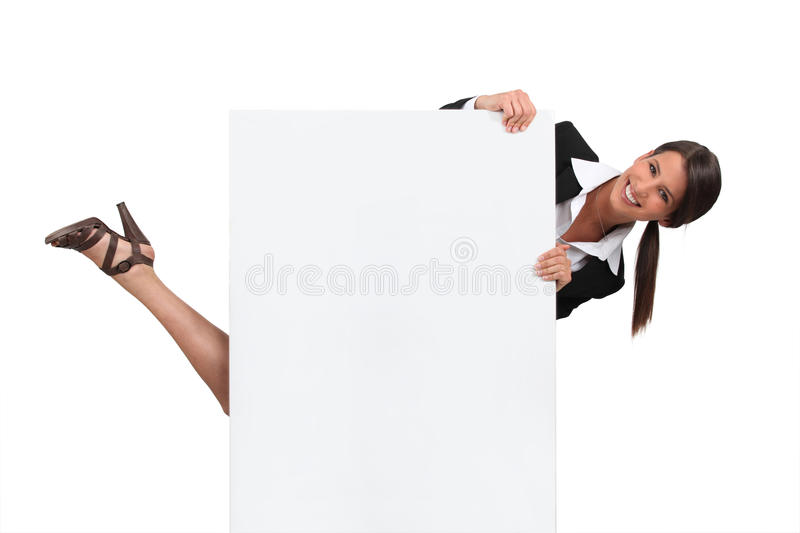Download Woman Hiding Behind Blank Board Stock Image - Image: 22884963