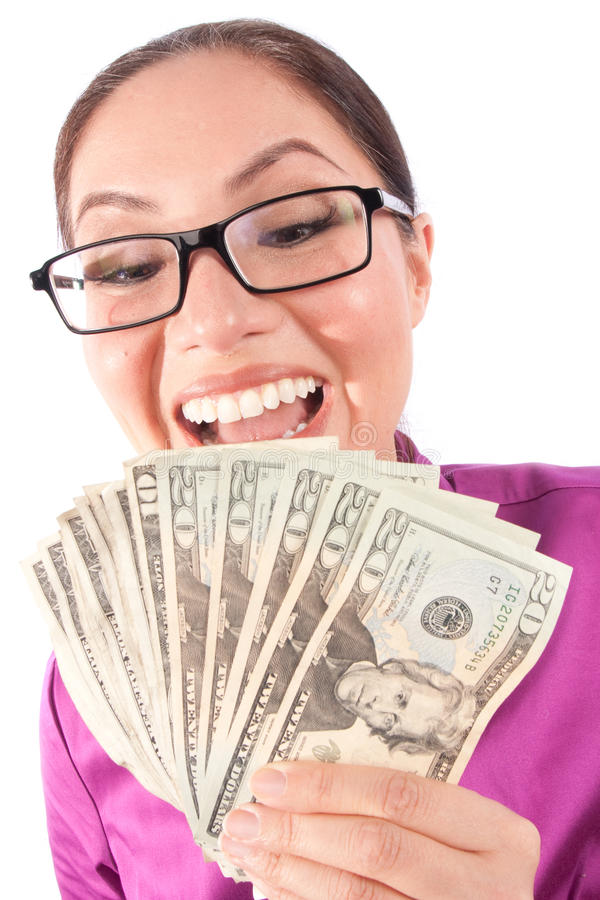 Woman Hiding Behind Money Royalty Free Stock Image
