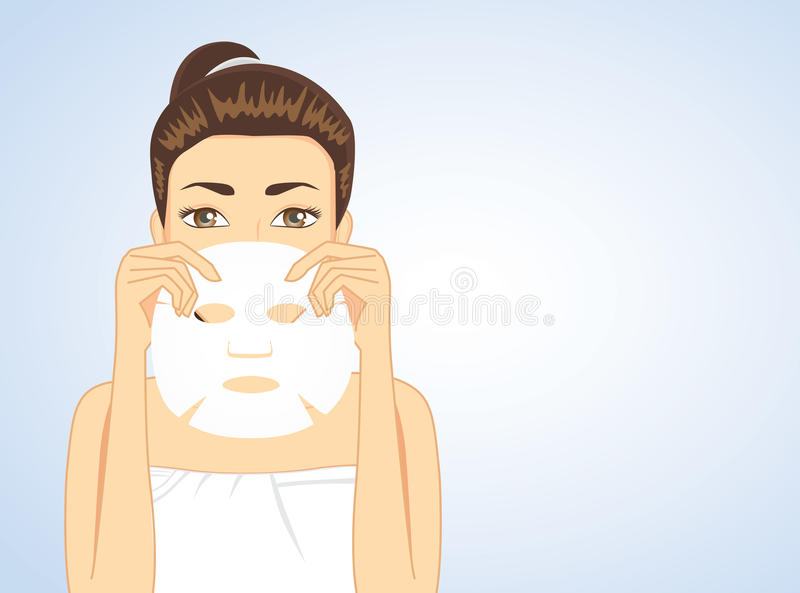 Woman hiding face backside facial sheet mask royalty free illustration