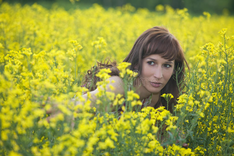 Download Woman hiding in field stock image. Image of landscape - 19361763
