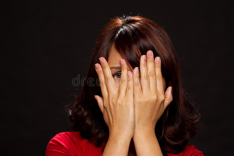 Woman Hiding Her Face Through Hands Royalty Free Stock Photo