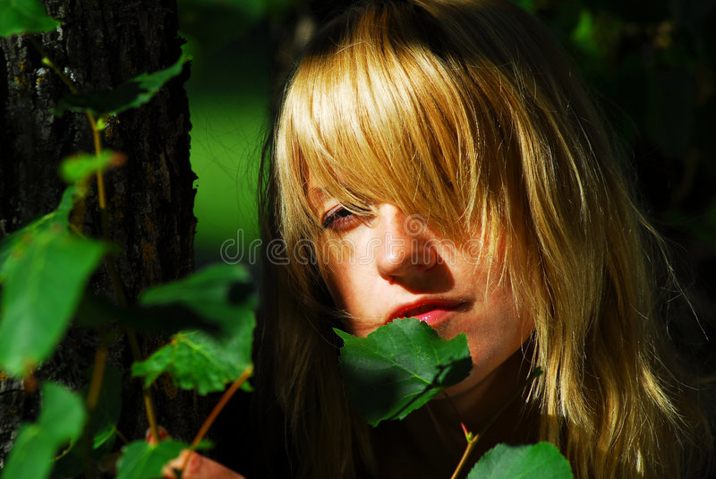 Woman hiding in leaves. Woman with face hiding between leaves in sunlight royalty free stock images