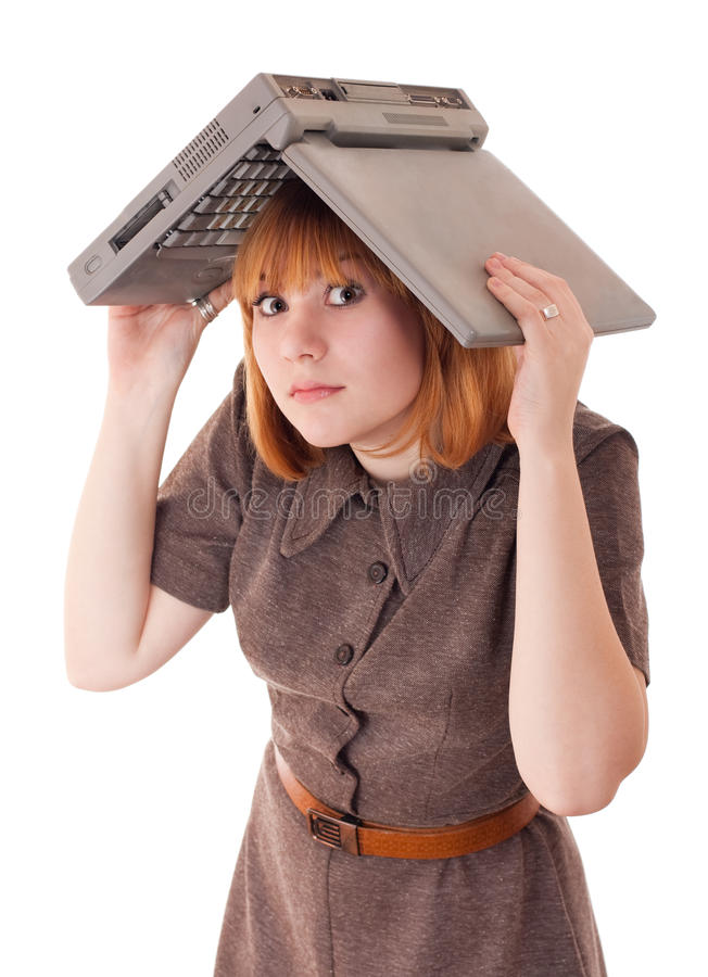 Download Woman Hiding Under The Laptop Stock Image - Image: 11507973