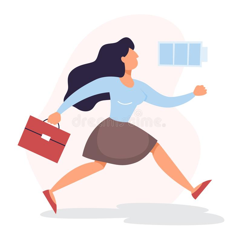 Woman with a high level of energy. Full battery royalty free illustration
