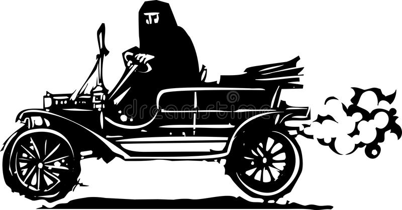 Woman in Hijab or Burka driving a Car. Woodcut style expressionist image of a woman driving a vintage car in traditional Muslim clothes stock illustration