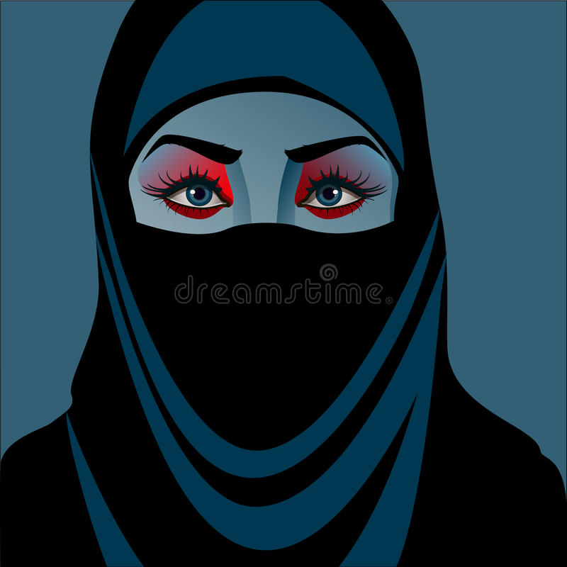 A WOMAN IN HIJAB. HEAD OF A WOMAN IN A BLUE HIJAB vector illustration