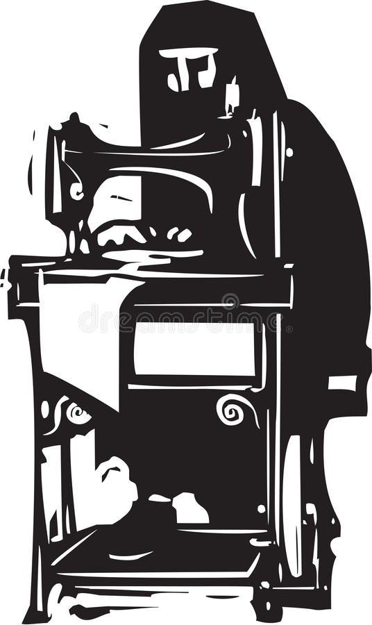 Woman in Hijab Sewing. Woodcut style image of a conservative Muslim woman in a Hijab or burka working at a sewing machine vector illustration
