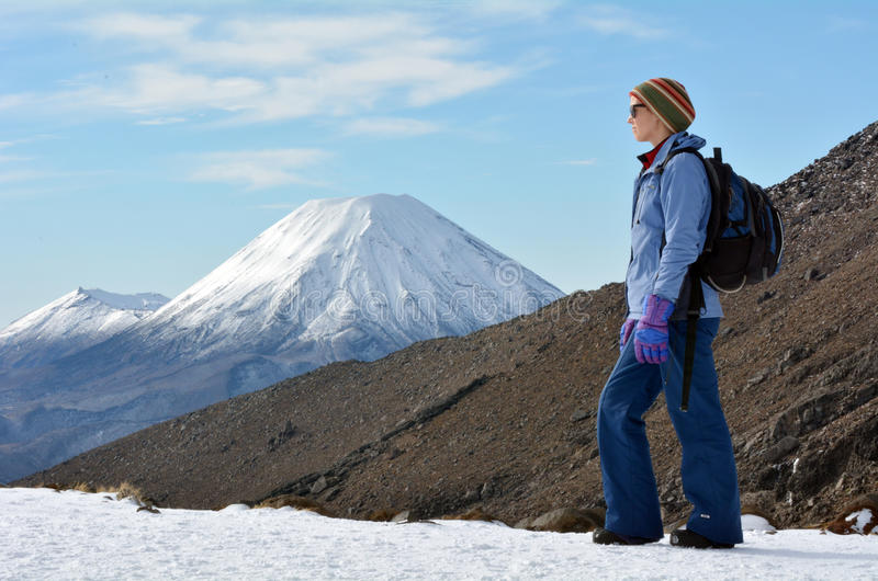 Woman hike the Tongariro crossing stock images