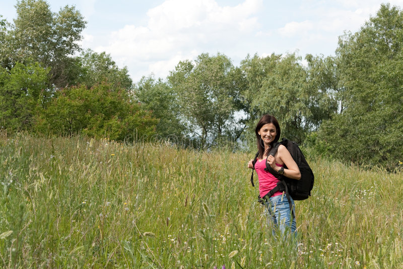 Download Woman hiker stock image. Image of backpacker, nature, activity - 9235007