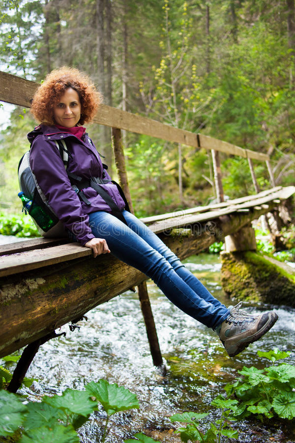 Download Woman hiker with backpack stock image. Image of female - 41071339
