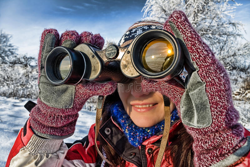 Download Woman Hiker With Binoculars Stock Image - Image: 12237113