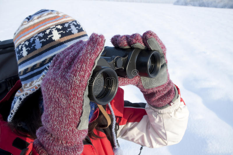 Download Woman Hiker With Binoculars Stock Photo - Image of female, girl: 12237132