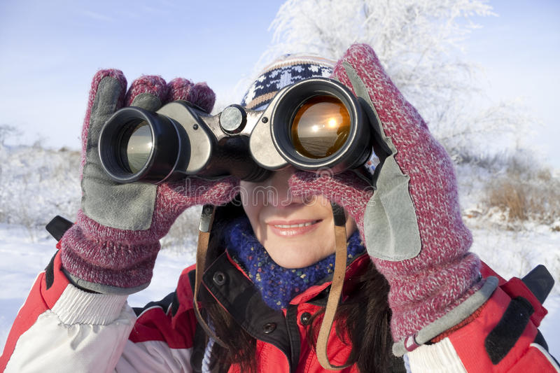 Download Woman Hiker With Binoculars Stock Image - Image: 12317763