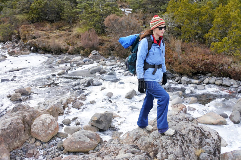 Woman hiker crossing a frozen stream stock photos