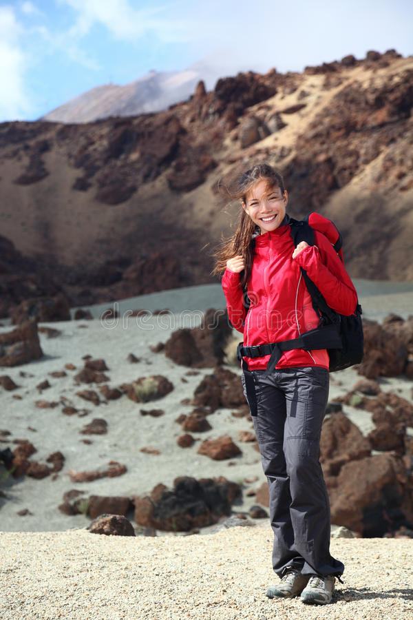 Woman hiker girl hiking in mountain