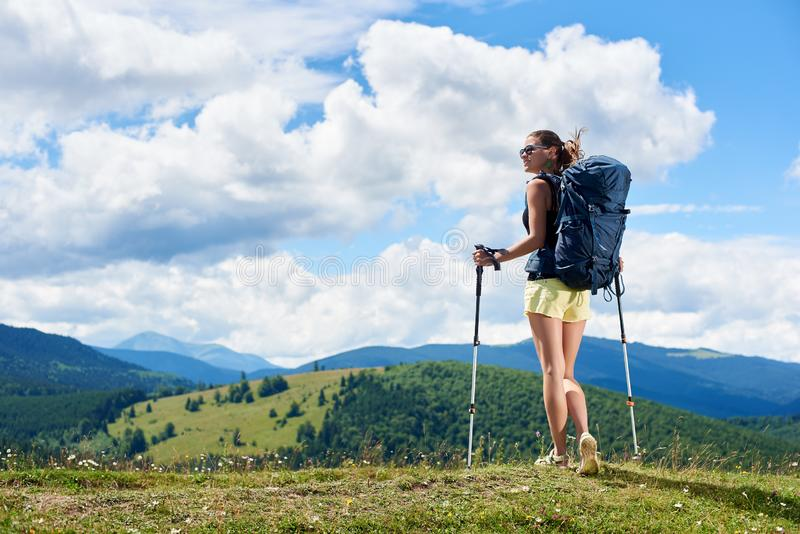 Woman hiker hiking on grassy hill, wearing backpack, using trekking sticks in the mountains stock photo