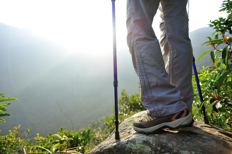 Download Woman Hiker Hiking Stand On Cliff Stock Photo - Image of edge, blue: 47303852