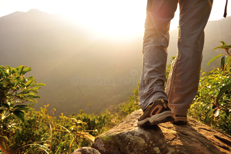 Download Woman Hiker Hiking Stand On Cliff Stock Image - Image of blue, hiking: 47597051