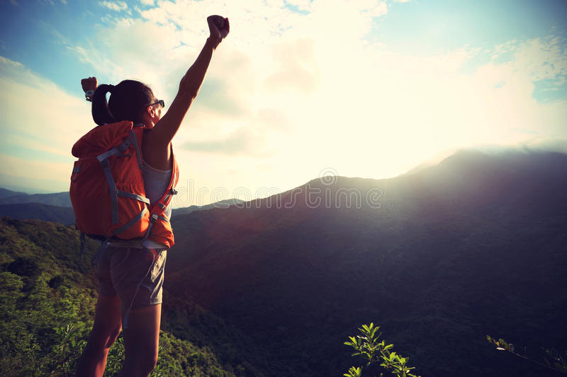 Download Woman Hiker Hiking Stand On Cliff Stock Photo - Image of copy, chinese: 55383282