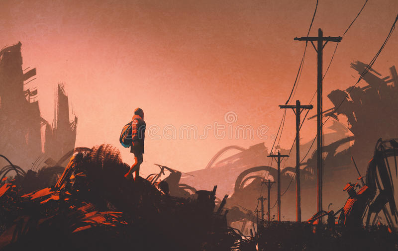 Woman hiker looking at abandoned city stock illustration