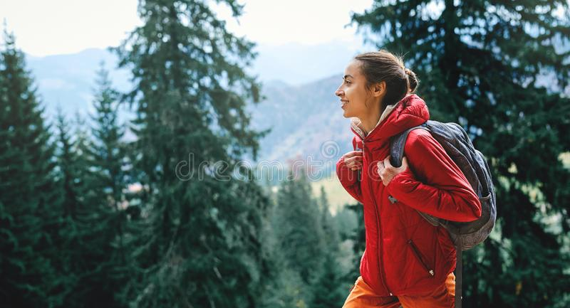 Woman hiker with small backpack wearing in red jacket and orange pants walks by trail through pine woods in the stock photography