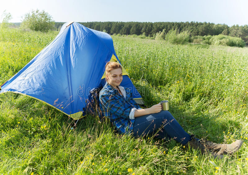 Woman hiker in summer forest royalty free stock images