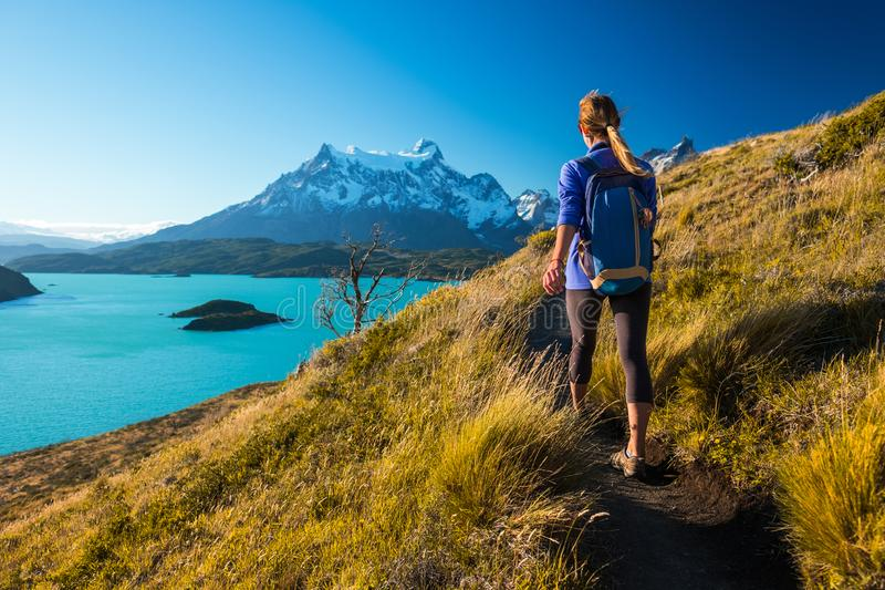 Woman hiker walks on the trail. In the Torres del Paine National Park. Chile royalty free stock image