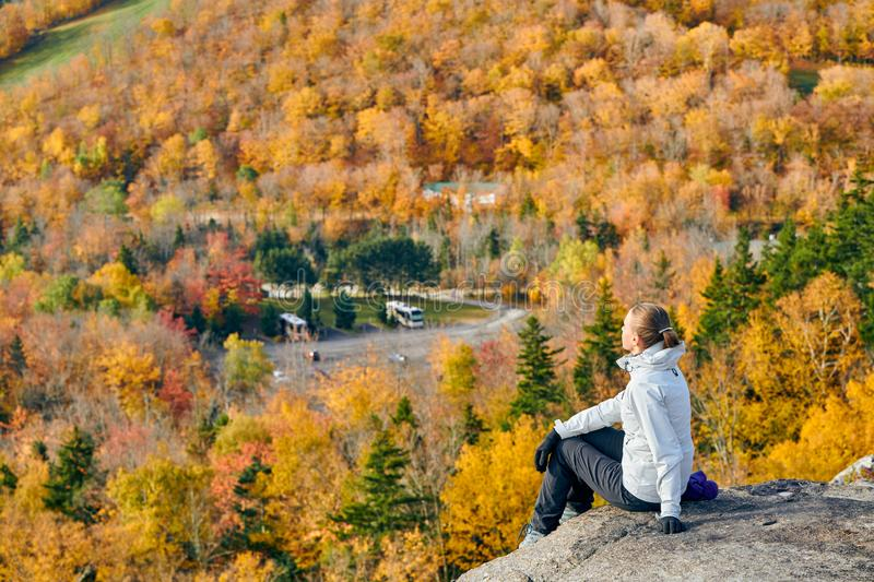 Woman hiking at Artist`s Bluff in autumn royalty free stock photo