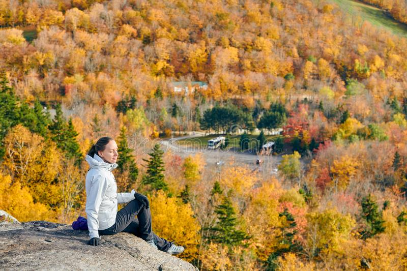 Woman hiking at Artist`s Bluff in autumn stock photography
